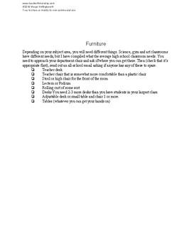 New Teacher Comprehensive Supply List