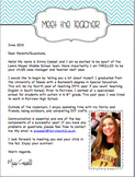New Teacher Letter and Social Story