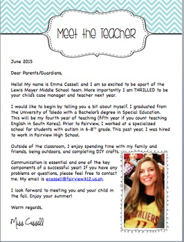 New Teacher Letter and Social Story by Creativity Works | TpT
