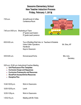 New Teacher Orientation Agenda