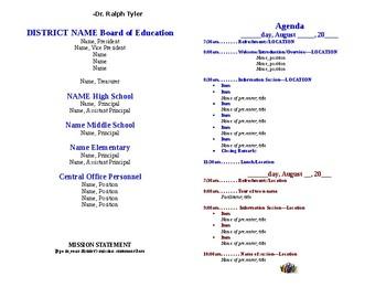 New Teacher Orientation Program Agenda
