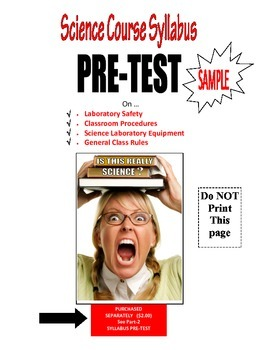 New Teacher GENERIC SCIENCE COURSE SYLLABUS - IMMEDIATE 1st-DAY OF CLASS USE