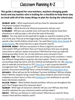 New Teachers Classroom Planning A-Z for all elementary teachers