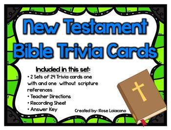 New Testament Bible Trivia Cards