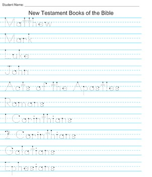New Testament Books of the Bible Handwriting