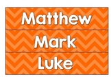 New Testament Labels- Orange Chevron