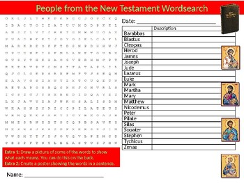 New Testament People Wordsearch Sheet Starter Activity Keywords The Bible RE