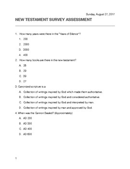 New Testament Survey Assessment