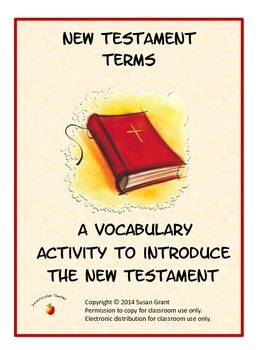 New Testament Terms Vocabulary Activity Worksheets