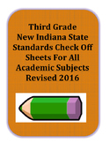 New Third Grade Indiana State Standards Check Off Sheets r