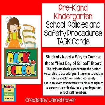 New to School Safety and School Policy Cards: Personnel, Rules, and Pictures