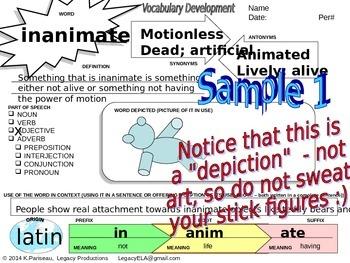 Vocabulary Development graphic organizer w examples