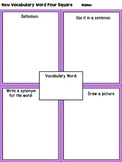 New Vocabulary Word 4 Square Graphic Organzier