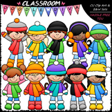 New Winter Kids - Clip Art & B&W Set