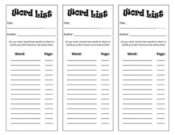New Word List Bookmarks