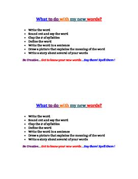 New Word Tasks/Activities