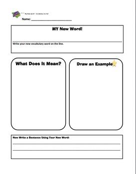 New Word Vocabulary Organizer Worksheet