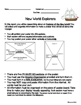 New World Explorer Project: Social Studies Exploration Research Report NO PREP