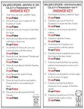 New World Explorers Assessment Quick True or False Test