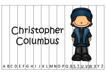 New World Explorers (Columbus) themed Alphabet Sequence Puzzle preschool game.