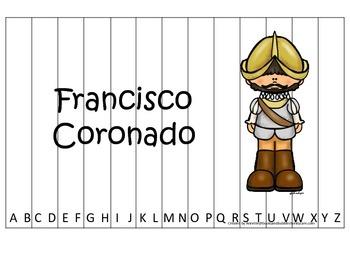New World Explorers (Coronado) themed Alphabet Sequence Puzzle preschool game.