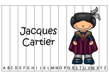 New World Explorers (Jacques Cartier) themed Alphabet Sequence Preschoool Puzzle