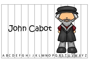 New World Explorers (John Cabot) themed Alphabet Sequence Puzzle preschool game.