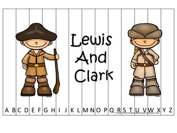 New World Explorers (Lewis and Clark) themed Alphabet Sequence Preschool Puzzle.