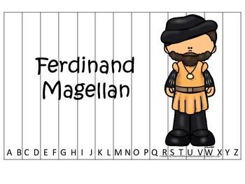 New World Explorers (Magellan) themed Alphabet Sequence Puzzle preschool game.