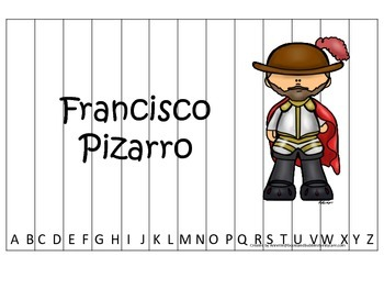 New World Explorers (Pizarro) themed Alphabet Sequence Puzzle preschool game.
