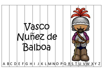 New World Explorers (Vasco Nunez) themed Alphabet Sequence