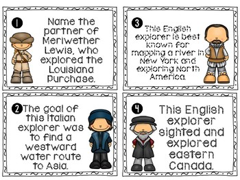 New World Explorers Write the Room Review Activity