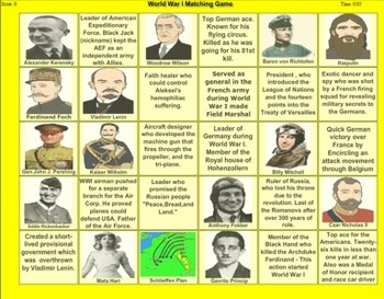 World War I Match Game (Updated) - Bill Burton