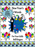 New Year's Spelling Activities: New Year's Words Flash-card & Word Wall Activity