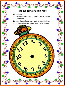 New Year's Math Activities: New Year's Telling Time Puzzles Math Activity Packet