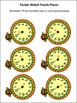 New Year's Math Activities: New Year's Telling Time Puzzle