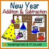 New Year 2 Addend Addition & Subtraction With Ten Frames