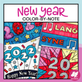 New Year Music Color-by-Note Activities, Music Coloring Pages for 2018