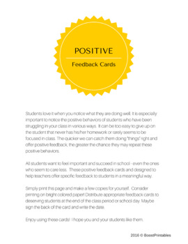 POSITIVE FEEDBACK CARDS - easy and impactful!