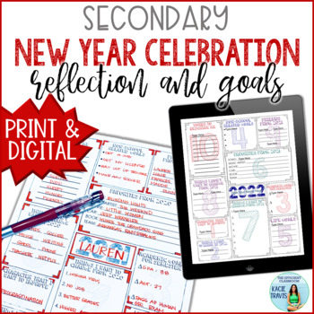 New Years 2018 Reflection and Goal Setting for Secondary Students