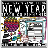 Happy New Years 2018 Writing Activity Teach- Go Pennants™ & New Years Resolution