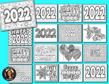 New Year 2018 Coloring Pages for Teens and Adults by Tracee Orman