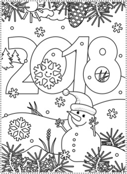 New Year 2018 Find the Differences and Coloring Page, CU