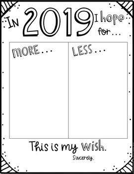 New Year 2019 Hopes and Wishes - Goal Setting - FREEBIE
