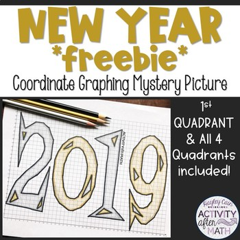New Year 2019 Coordinate Graphing Picture FREEBIE