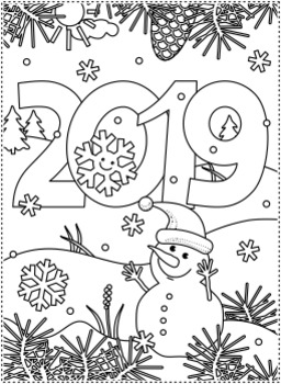 New year 2019 find the differences and coloring page cu - Color for new year 2019 ...