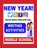 New Year 2019 - SOCIAL MEDIA THEMED writing activities!