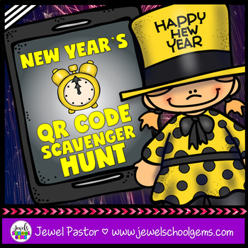 New Year's 2018 Activities (New Year's QR Codes Scavenger Hunt)