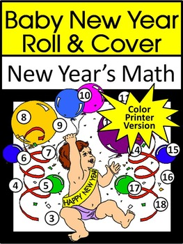 New Year's Math Activities: Baby New Year Roll & Cover Math Activity