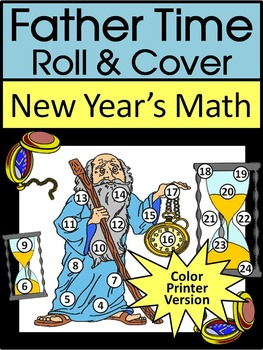 New Year's Math Activities: Father Time New Year's Roll & Cover Math Activity